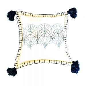 Coussin brodé art déco bleu nuit et havane 45×45 cm