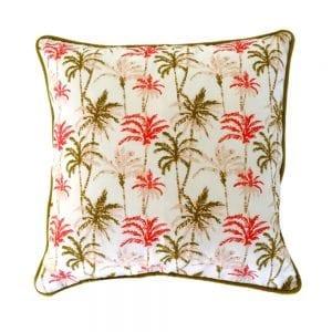 Coussin palmier spiced corail 45×45 cm