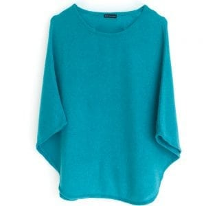Poncho rond bleu turquoise