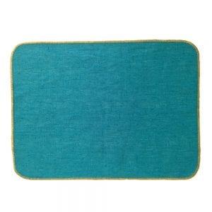 Set de table en lin enduit turquoise